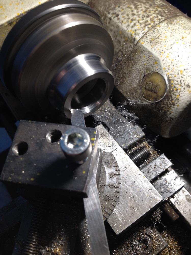 Behind the Scenes: Turning a titanium Levenaig watch case. Emco Unimat 3.