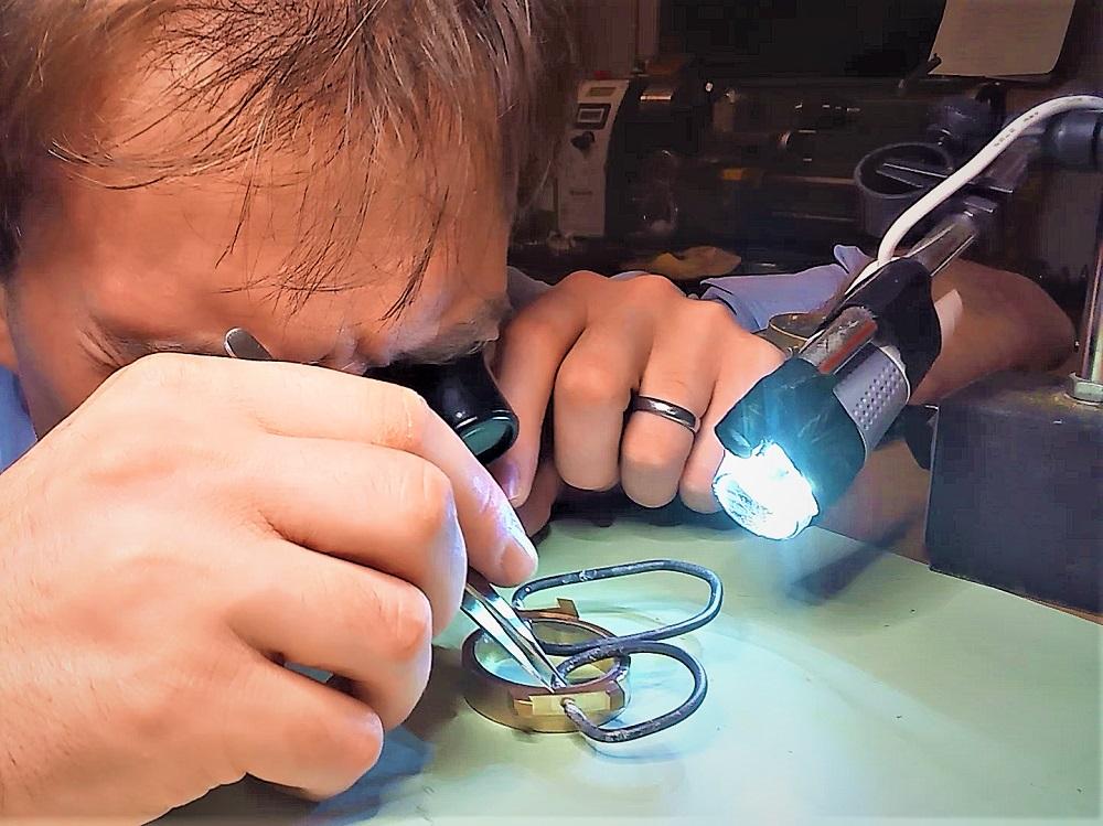 Behind the Scenes: Holme Finnilä at Levenaig Watches preparing a bronze watch case for soldering.